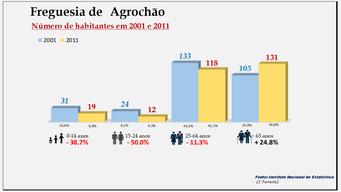 Agrochão- Grupos etários em 2001 e 2011