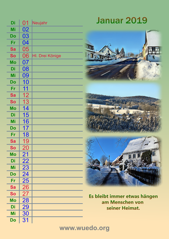 Wünschendorf Kalender 2019