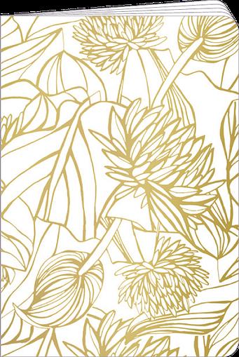 Carnet de poche 48 pages blanches et lignées alternées, finition or, illustré par Silowane
