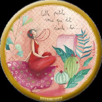 """Magnet bordure dorée illustré par Anne-Sophie RUTSAERT """"cette petite voix qui dit écoute-toi"""""""