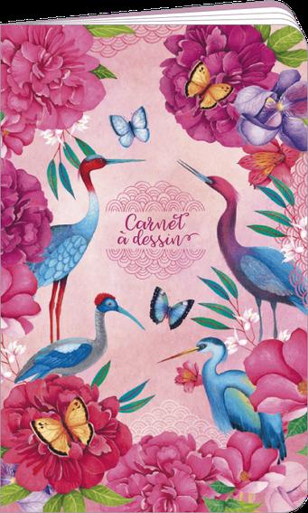 """Carnet à dessin """"grues et papillons"""" illustré par Mila"""