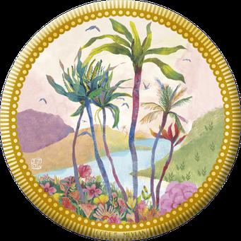 Magnet bordure dorée illustré par Izou