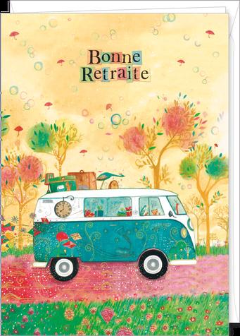 """Carte double géante """"bonne retraite"""" illustrée par Jehanne WEYMAN"""