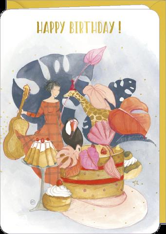 Carte double anniversaire illustrée par Anne-Sophie RUTSAERT