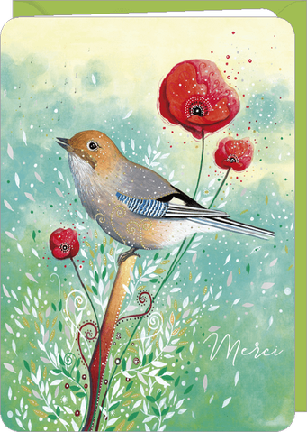 Carte double remerciement illustrée par Jehanne WEYMAN