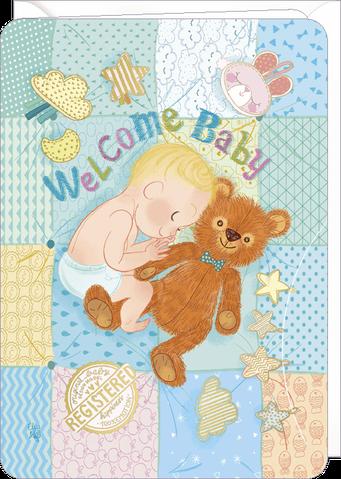 Carte double naissance illustrée par Audrey BUSSI et Elisa ROCHETAIN