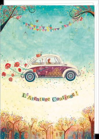 """Carte double géante """"l'aventure continue"""" illustrée par Jehanne WEYMAN"""
