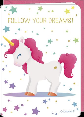 Carte double licorne suis tes rêves illustrée par Barbara FORMOSA