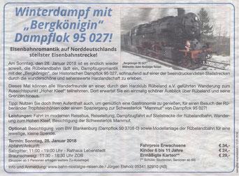 Winterdampf mit Bergkönigin Dampflok 95 027