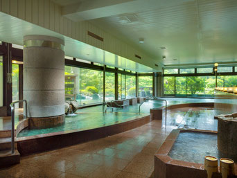 富士の麓で育まれた大地の恵みを感じられる高アルカリ性の天然温泉。