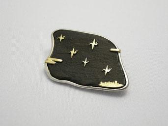 星降る鳥のように(銀、金、流木、漆)
