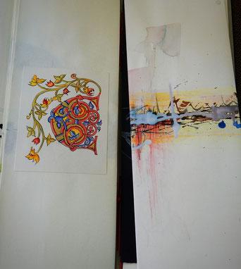 Clemi Küpferle: Buchmalerei mit Vergoldung und Abstract