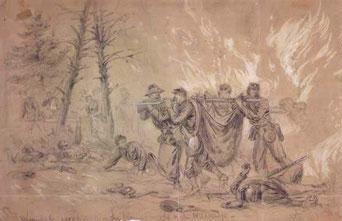 Alfred Waud, 'Slag bij Wilderness'. De tekening die Adriaan in de krant ziet, bestaat echt, maar is natuurlijk niet door zijn vader gemaakt, maar door de bekende oorlogstekenaar Alfred Waud.