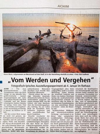 """Pressemeldung 28.12.2018 Achimer Kreisblatt: """"Vom Werden und Vergehen"""""""