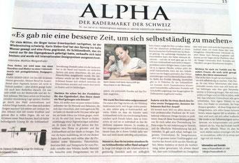 Tagesanzeiger, Sonntagszeitung Alpha, Medienbericht, Alu Designleiste, Schlüsselbrett, Schlüsselaufbewahrung, Designfilz, Schlüssel