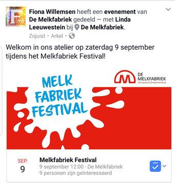 9 september 2017 hebben wij deelgenomen aan het Melkfabiekfestival op het creatieve bedrijventerrein waar ons atelier gevestigd is.
