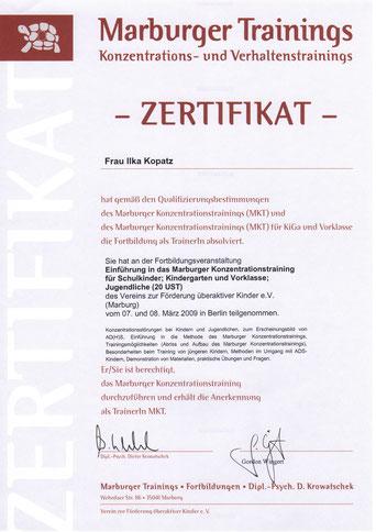 Zertifikat Marburger Konzentrationstraining