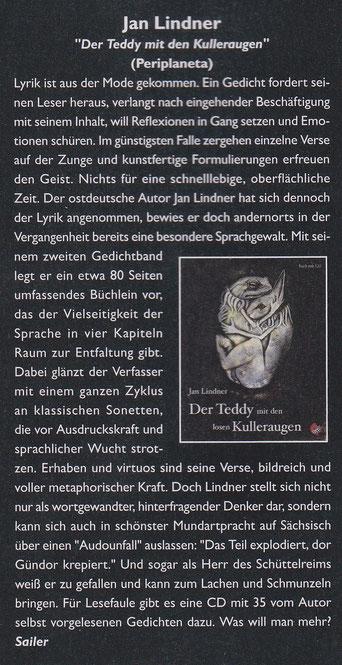 """Rezension zu Jan Lindners """"Der Teddy mit den losen Kulleraugen"""" im Zillo Musikmagazin"""