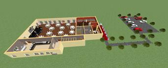 CAD-Zeichnung der Fachschüler Gebäude mit Parkplatz