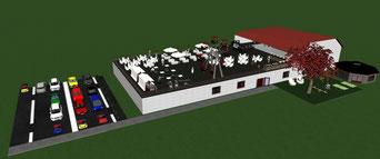 Gebäude mit Parkplatz CAD-Zeichnung der Eventfachschule