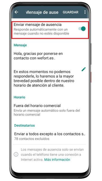 WhatsApp Business: Enviar mensaje de ausencia automáticamente
