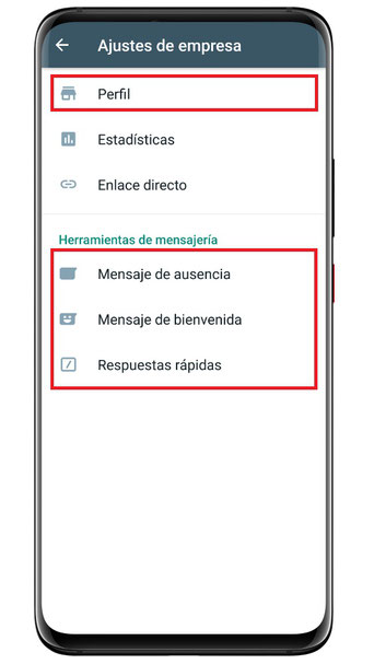 WhatsApp Business: Ajustes de empresa; Perfil