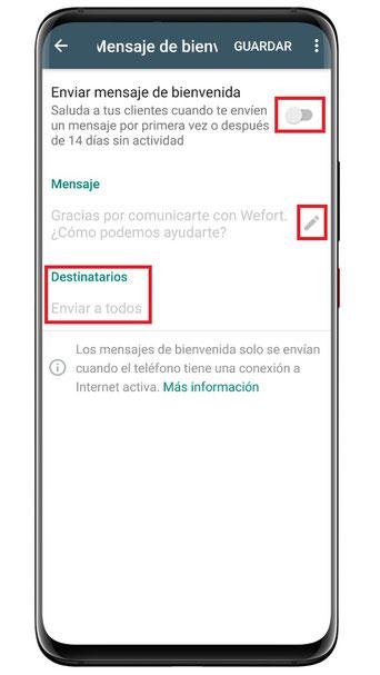 WhatsApp Business: Enviar mensaje de bienvenida automáticamente
