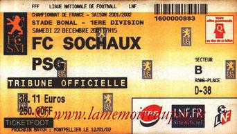 Tickets  Sochaux-PSG  2001-02