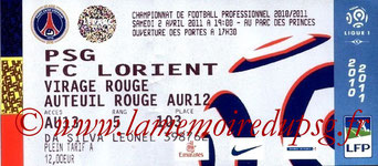 Ticket  PSG-Lorient  2010-11