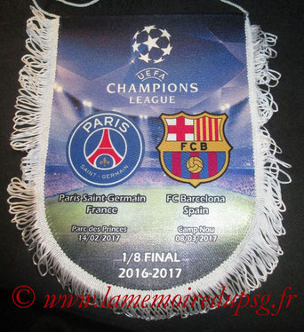 Fanion  PSG-Barcelone  2016-17 (grand format)