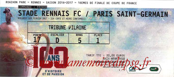 Ticket  Rennes-PSG  2016-17