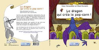 L'aperçu des couvertures 1 et 4 du livre Le dragon pop-corn de l'illustratrice Cloé Perrotin