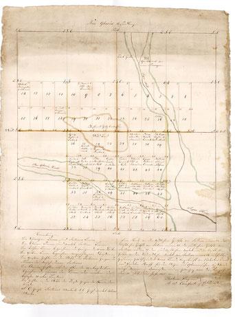 Karte von New Glarus von 1845 von Joshua Frey gezeichnet (Archiv Glarner Auswanderungsverein)