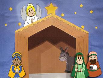 Am zweiten Adventsonntag kommen ein Engel, ein König und zwei Hirten im Stall dazu.