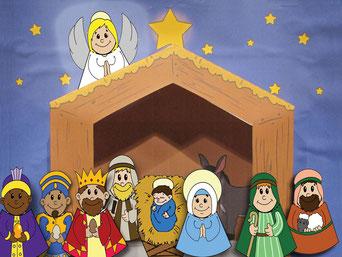 Am vierten Adventsonntag kommt schließlich die Krippe mit dem Jesukind dazu.