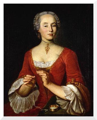 Gemälde von Johann Ulrich Schellenberg - Bildnis einer Dame, eine Perlenkette aufreihend (1745)