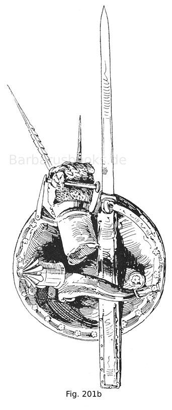 Fig. 201b. Italienischer Armschild, sogenannter Laternenschild. Rückseite mit dem Handschuh und originaler Laterne.