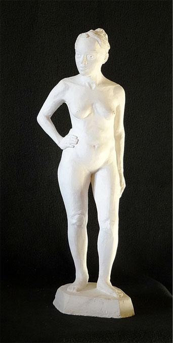 Weibliches Gipsmodell als Vorstudie für die Bildhauerei.