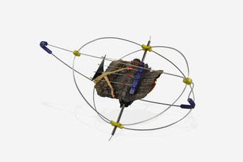 """ASTROLABE"" 2017  tree bark, steel, aluminium, titanium, silver, electronic components, cotton yarn 15x10x7 cm. 22gr."