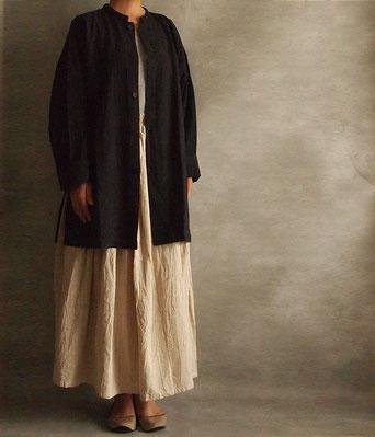 ヂェン先生の日常着 開襟シャツ長袖厚地 ダークパープル着用イメージ1