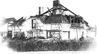 Uitgebrand huis