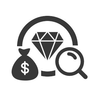 Icona valutazione e acquisto diamanti