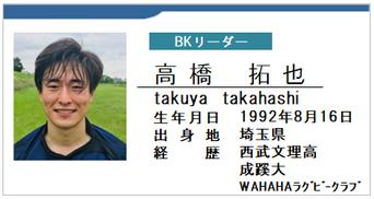 BKリーダー/高橋拓也/takuya takahashi/埼玉県/ラグビー歴:西武文理高/成蹊大/WAHAHAラグビークラブ