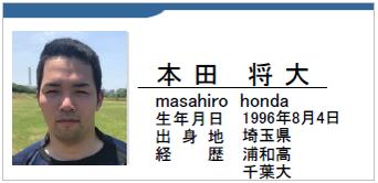 本田将大/masahiro honda/埼玉県/ラグビー歴:浦和高/千葉大