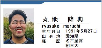 丸地隆典/ryusuke maruchi/愛知県名古屋市/ラグビー歴:名古屋高/朝日大