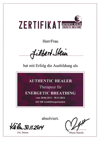 Zertifikat Therapeut für Energetic Breathing