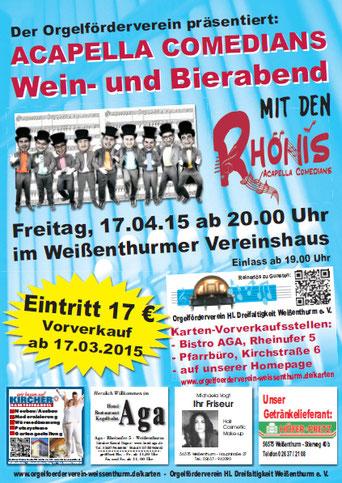 Rhönis, Acapella-Comedians, Vereinshaus, Orgelförderverein, Klais-Orgel, Hl. Dreifaltigkeit