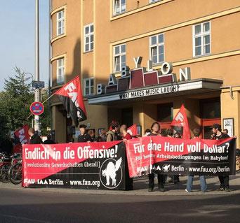 Fra en tidl. blokadeaktion af FAU i Berlin