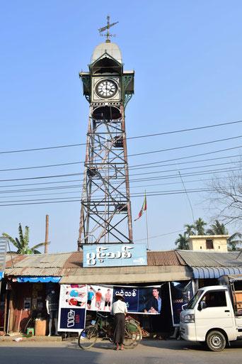 ラカイン州の首府・シットウェのシンボルである時計台
