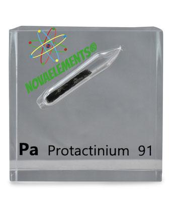 protactinium metal, protactinium sample for element collection, protactinium acrylic cube, protactinium metal sample for collectors.
